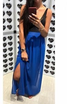 Lola Fashion długa spódnica z tiulem kobaltowa
