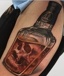 3d bottle whisky with skull