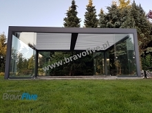 pergola bioklimatyczna, pergola aluminiowa z dachem żaluzjowym obrotowowym