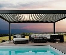nowoczesne zadaszenie tarasu, zadaszenie aluminiowe z dachem żaluzjowym