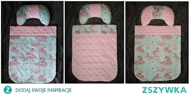 pomysł na poduszkę i kołderkę. Świetny zestaw do wózka lub łóżczka.