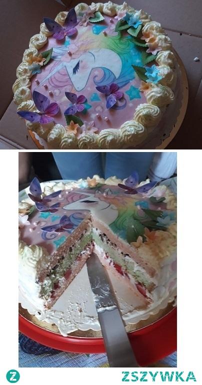 Mój debiut :) Tort urodzinowy dla siostry która ma bzika na punkcie jednorożców :D Idealny nie jest ale jestem dumna ;)