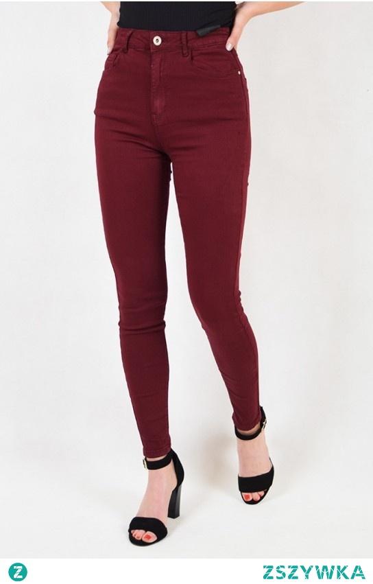 Bordowe spodnie skinny jeans z wysokim stanem