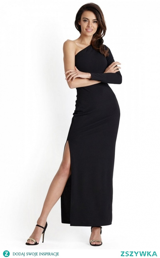 IVON czarna długa sukienka wieczorowa Luisa