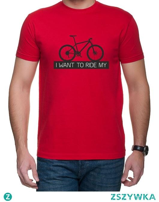 Koszulka T-SHIRT I want to ride MTB Red