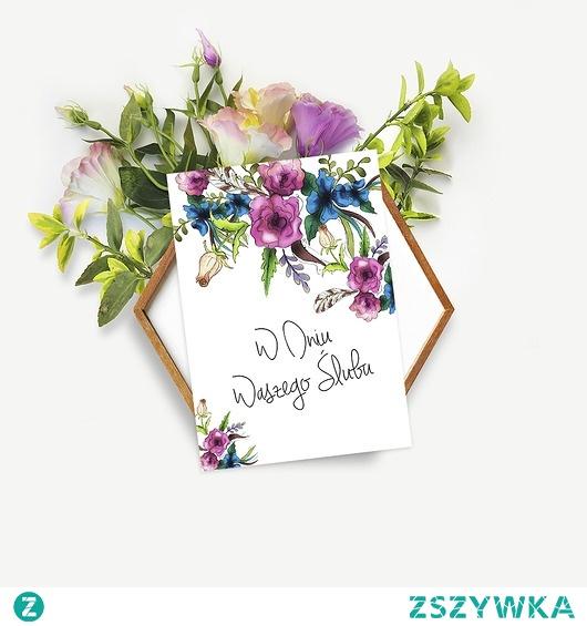 """Kartka Ślubna """"Flower Power"""""""