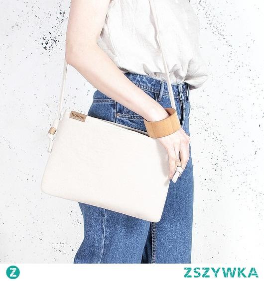 Nodo Bag beżowa torebka / kopertówka z paskiem