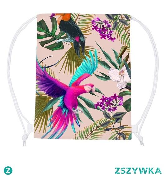 plecak worek. egzotyczny. ptaki