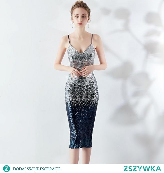 Błyszczące Granatowe Srebrny Strona Sukienka 2019 Spaghetti Pasy Cekiny Bez Rękawów Bez Pleców Długość Herbaty Wieczorowe Sukienki Wizytowe