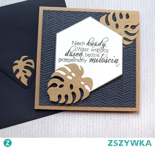 kartka ślubna :: GRANAT & złoto :: MONSTERA