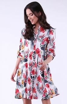 Nommo Luźna sukienka w kwia...