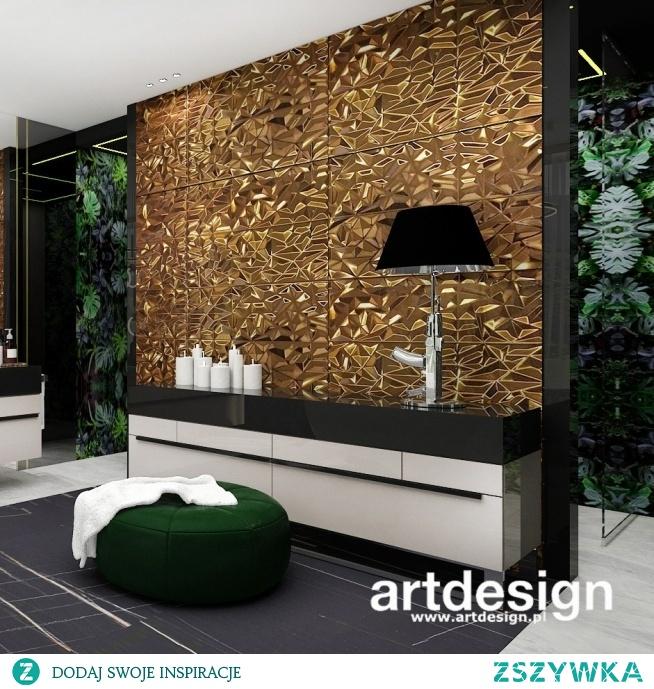Luksusowy pokój kąpielowy z mocnym akcentem w postaci ściany z płytek 3d   PURE GENIUS   Wnętrza domu