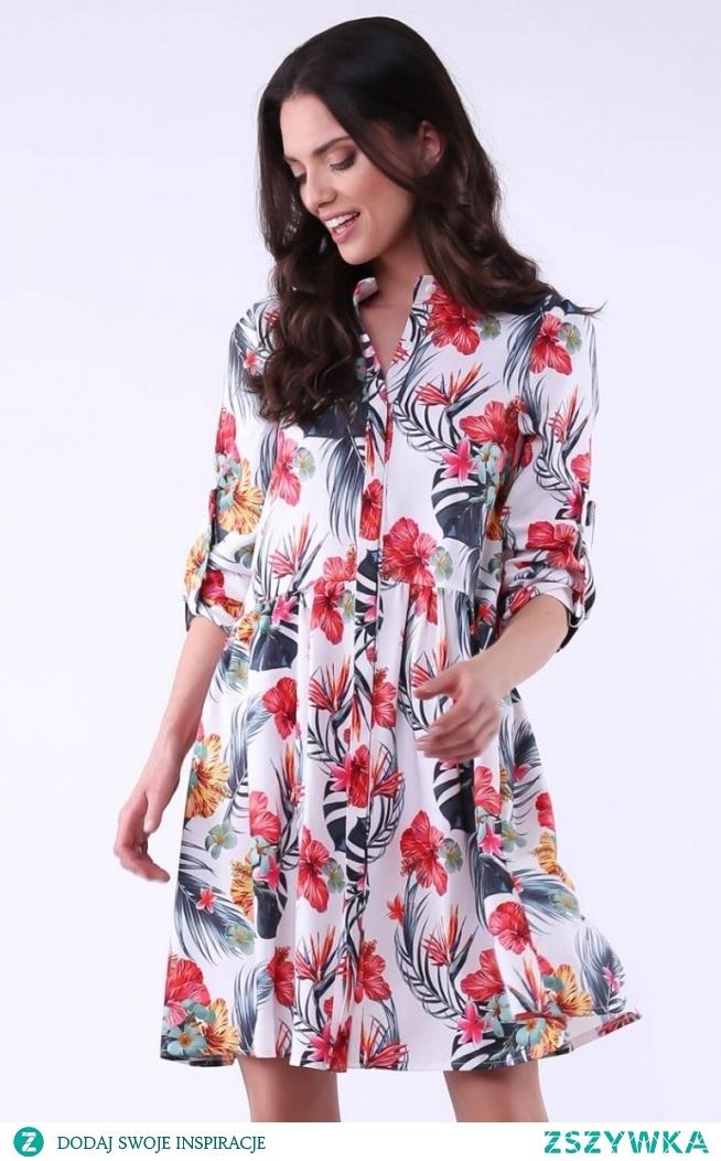 Nommo Luźna sukienka w kwiaty NA940