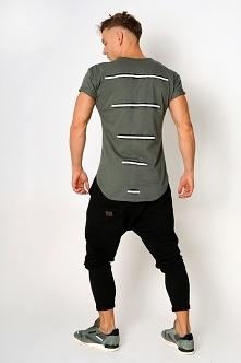 T-shirt lampasy khaki