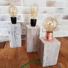 Lampa LOFT drewno z recyklingu