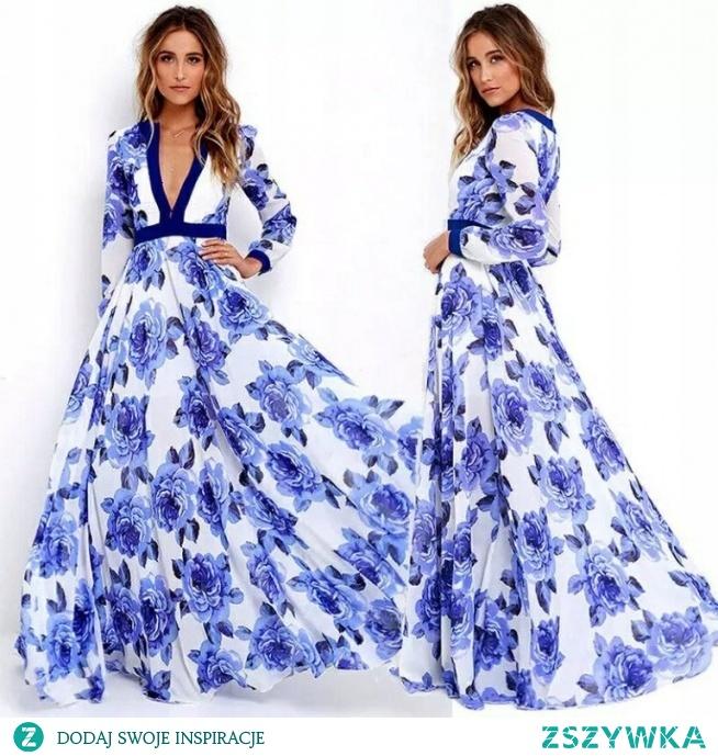 Piękna sukienka maxi rozmiar 40/42- kliknij w zdjęcie