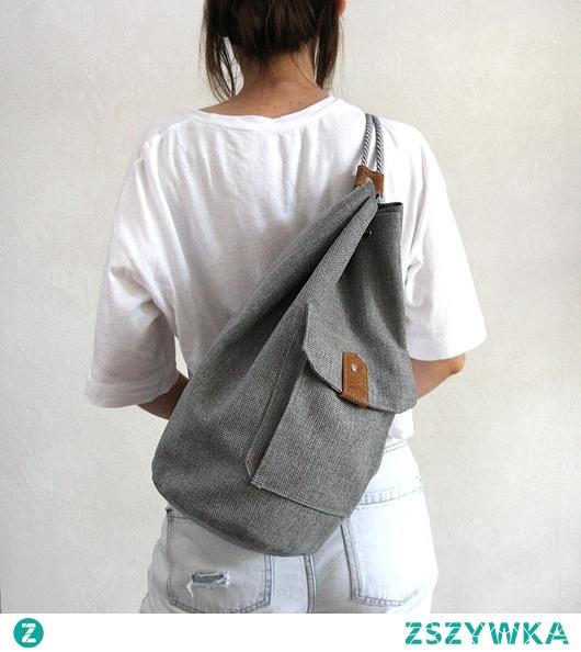 worek plecak - grey&brown&flowers -