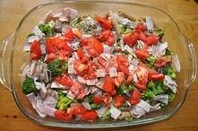 Zapiekanka z szynką, brokułem i makaronem :)