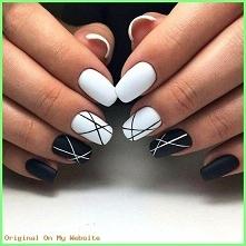 czarne paznokcie ze zdobieniami