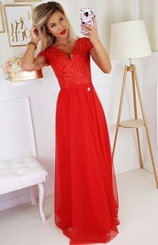 Bicotone Wieczorowa długa sukienka czerwona 2187-02