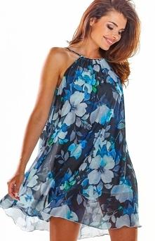 Awama Luźna sukienka w niebieskie kwiaty A289