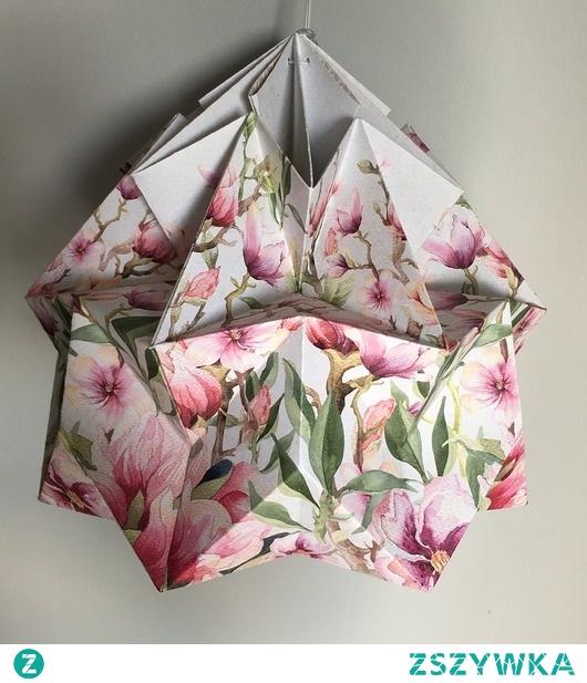 Abażur klosz Origami origamilamp papier Kwiatki