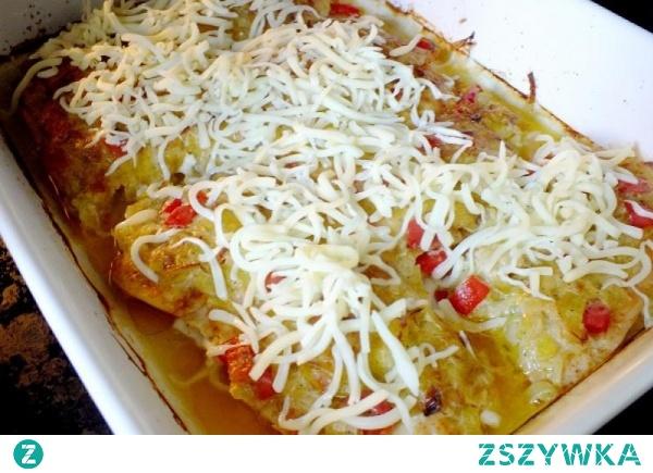 kurczak zapiekany z porem i mozzarellą
