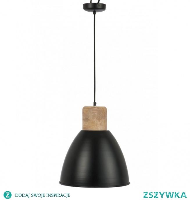 LAMPA WISZĄCA CZARNA ERNA METAL-DREWNO - J-LINE Oryginalna lampa w stylu skandynawskim idealna do salonu i sypialni. Pięknie będzie wyglądać zawieszona nad stołem w jadalni.