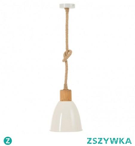 LAMPA BIAŁA WISZĄCA EDNA - J-LINE zawieszona na grubym, jutowym sznurze, idealna do wnętrz skandynawskich, marynistycznym lub hampton.