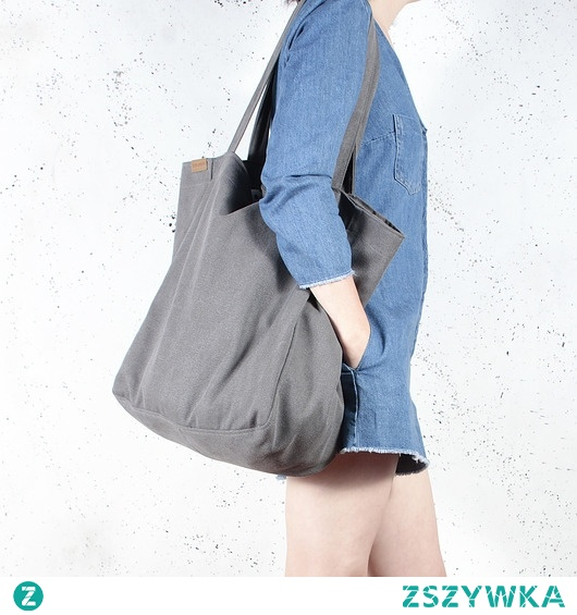 Lazy bag torba grafitowa na zamek / vegan