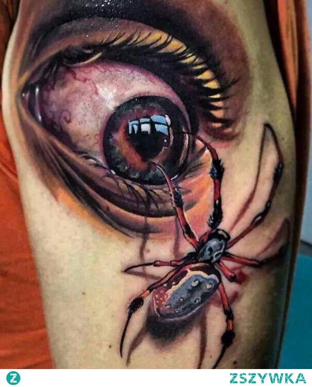 oko i pająk tatuaż