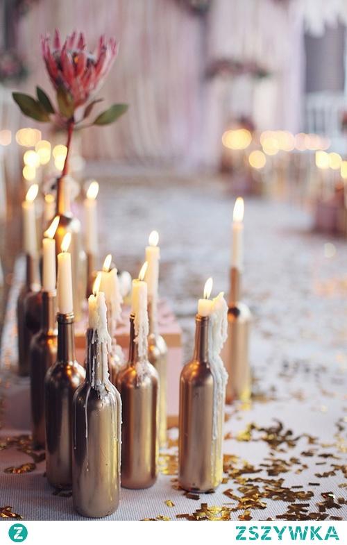 Świeczki + butelka = świetna ozdoba