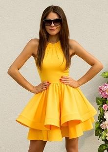 MELANIE - rozkloszowana sukienka z dwóch falban soczyste mango sukienkowo.com Kliknij w zdjecie by przejsć do produktu