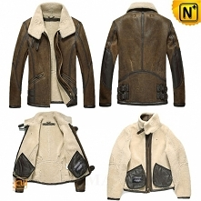 Men Sheepskin Jacket | Vintage Sheepskin Bomber Jacket CW809215 | CWMALLS.COM