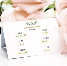 Menu weselne, dekoracja stołu. Menu do postawienia na stół weselny.