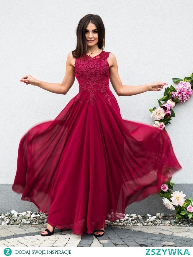 BOMBSHELL - Luksusowa sukienka z gipiurami BORDOWA sukienkowo.com Kliknij w zdjecie by przejsć do produktu