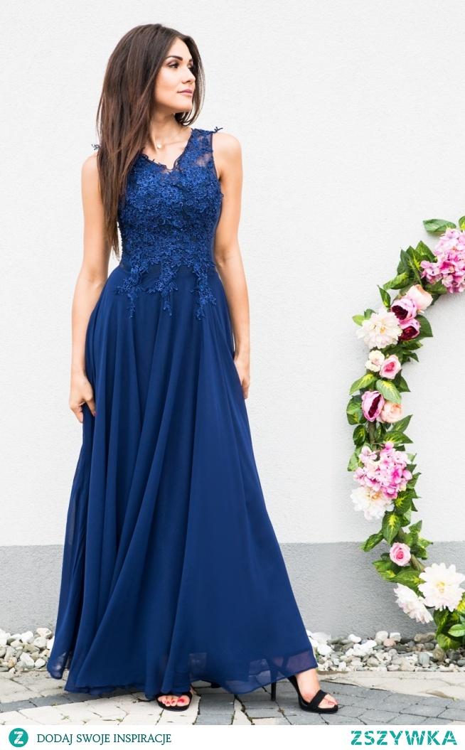 BOMBSHELL - Luksusowa sukienka z gipiurami granatowa sukienkowo.com Kliknij w zdjecie by przejsć do produktu