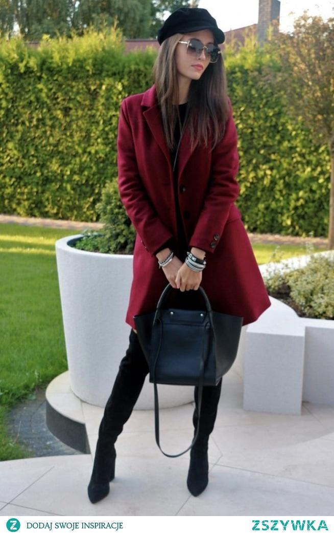 Bordowy płaszcz damski P006