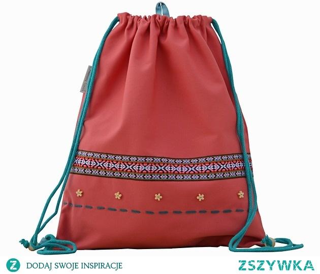 BOHO worek plecak czerwony + haftowany napis