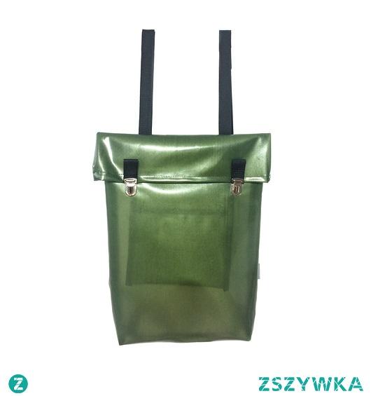 Nieprzemakalny plecak z klapką zielony
