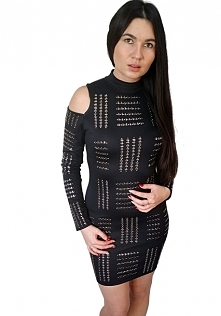 sukienka czarna dżety srebro star eva