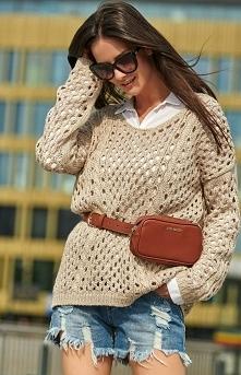 Numinou Ażurkowy sweter beżowy S59