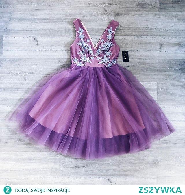 Realizacja projektu fioletowej sukni tiulowej z aplikacjami ✂️