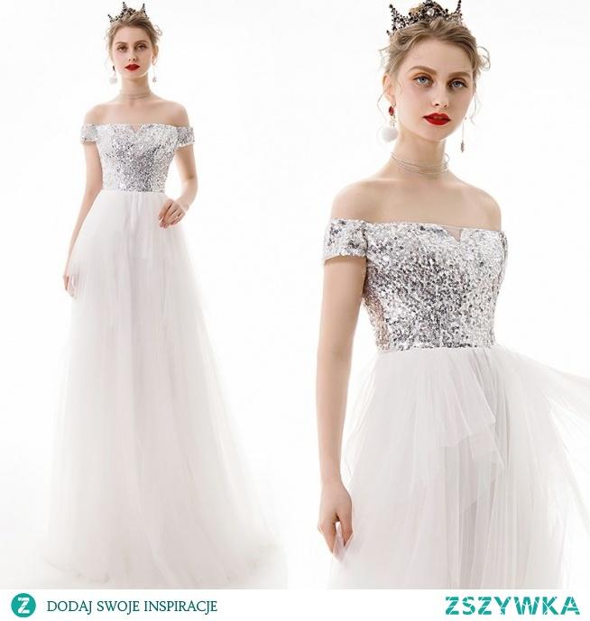 Stylowe / Modne Kość Słoniowa Sukienki Wieczorowe 2019 Princessa Przy Ramieniu Cekiny Kótkie Rękawy Bez Pleców Długie Sukienki Wizytowe