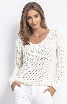 Fobya Oversizowy sweter z grubym splotem ecru F760
