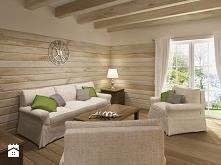 salon, deski na ścianie