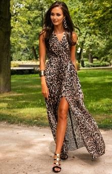 Roco Długa sukienka w panterkę 0209 D40