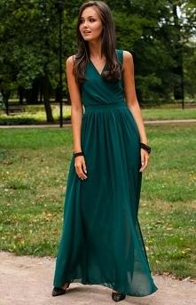 Roco Elegancka szyfonowa sukienka zielona 0213