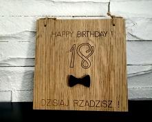 Drewniana kartka 18 urodzin...
