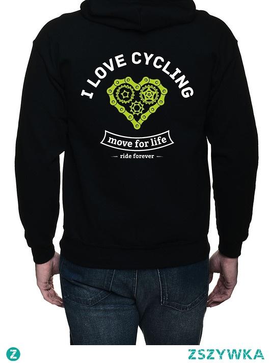 Bluza, dwustronny nadruk. I love cycling